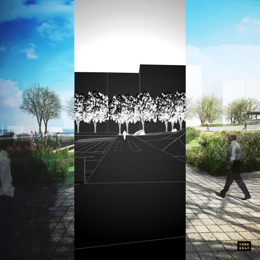 Κεντρική πλατεία Ελευθερίας Θεσσαλονίκη τρισδιάστατος σχεδιασμός & φωτορεαλισμός