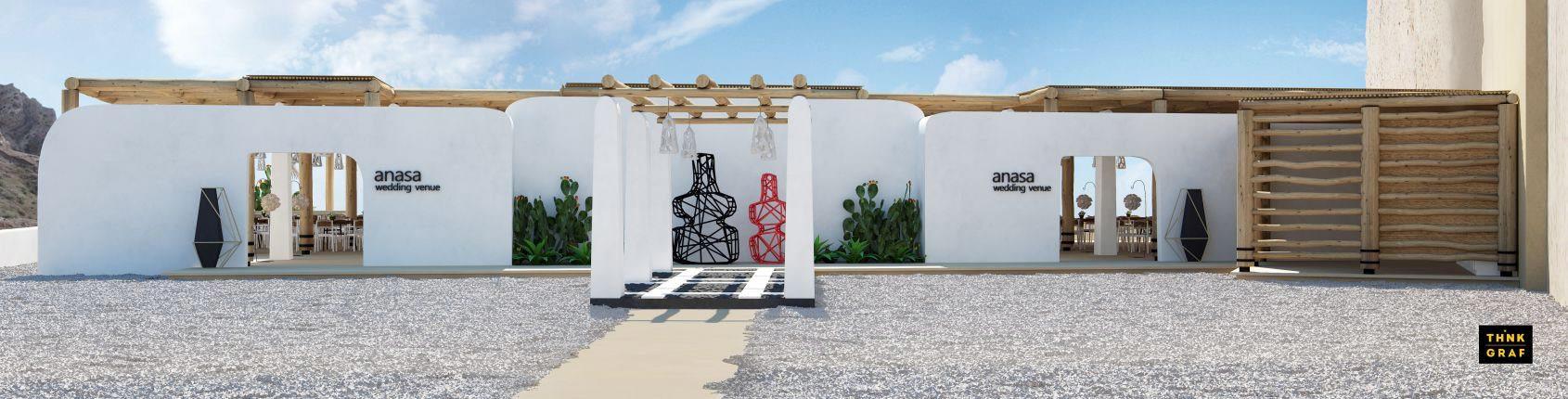 Anasa χώρος δεξιώσεων γάμου τρισδιάστατος σχεδιασμός & φωτορεαλισμός